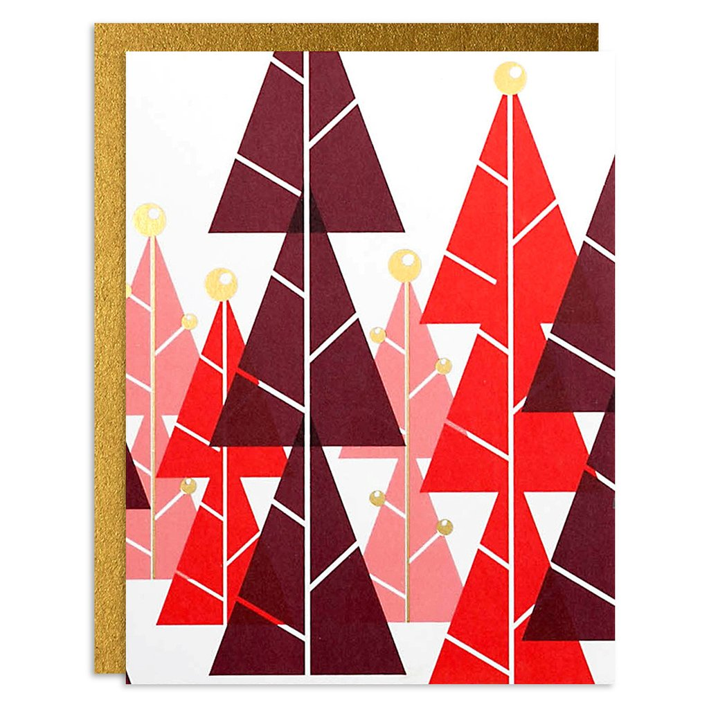 Christmas Trees - Red - Holiday Greeting Card