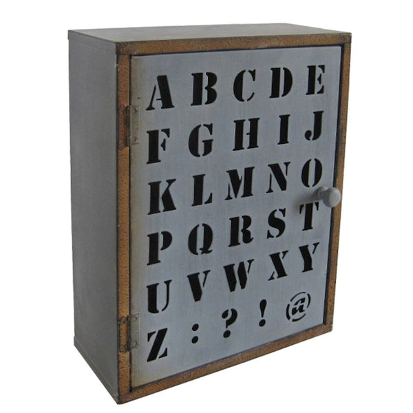 Metal Wall Cabinet - Rustic Alphabet Cutout 11-3/4-in - Mellow Monkey
