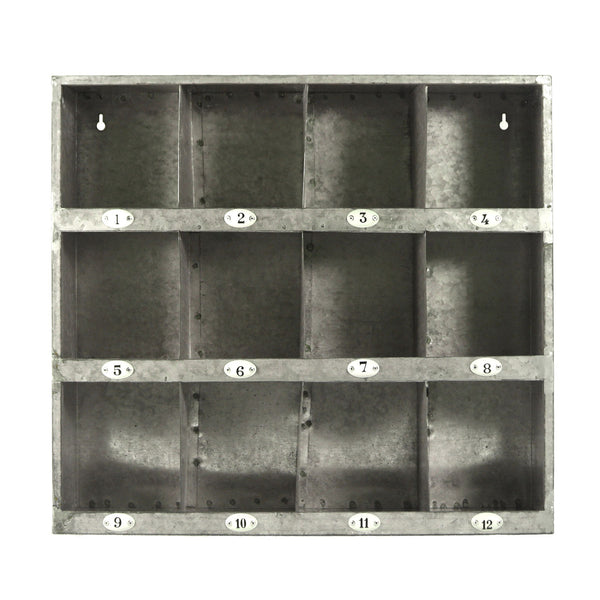 Decorative Home Accent Galvanized Metal Wall Cubby Storage With Number Labels - Mellow Monkey  - 1
