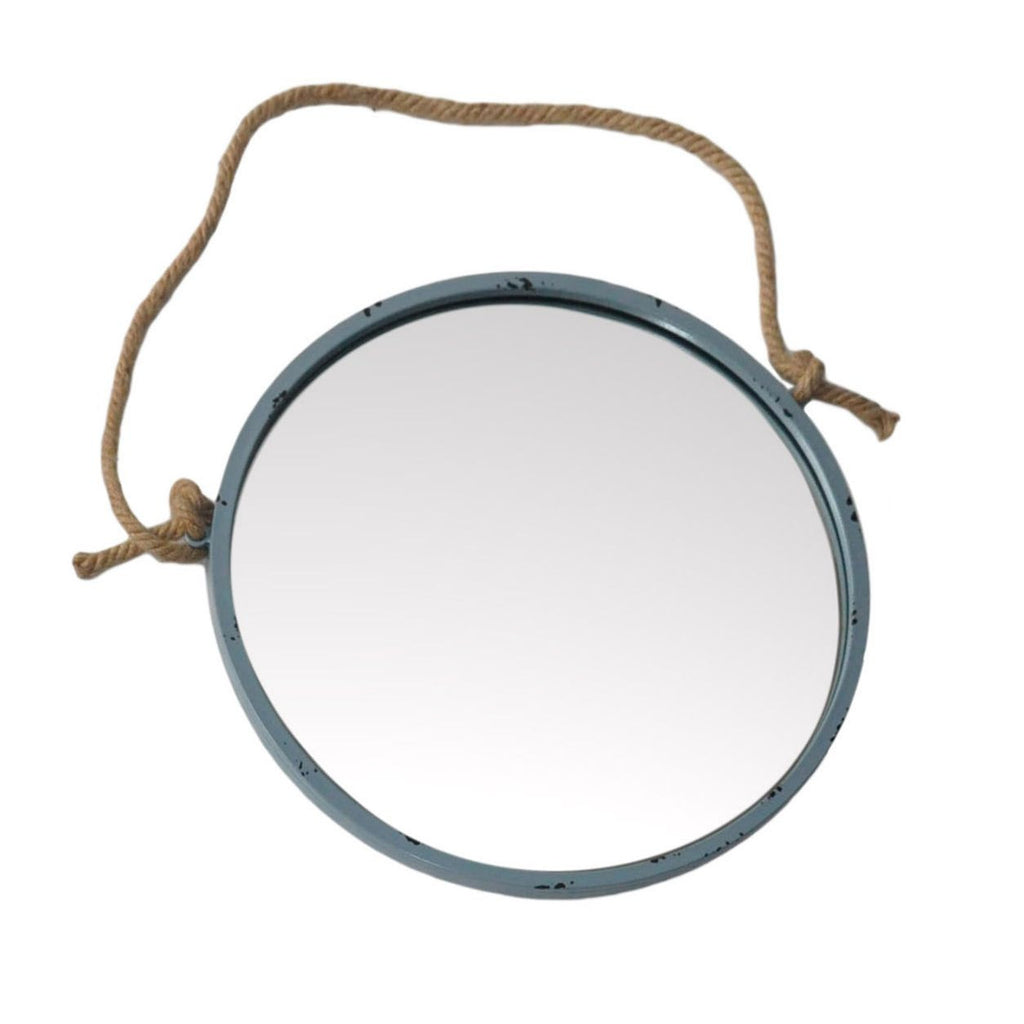 Round Metal Mirror With Rope Part - 44: Round Metal Framed Nautical Porthole Wall Mirror With Jute Rope Hanger And  Distressed Finish 18-