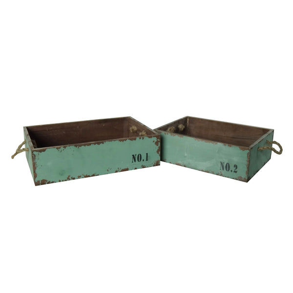 Vintage Wood Crates with Rope Handles and Antique Teal Finish - Set of 2