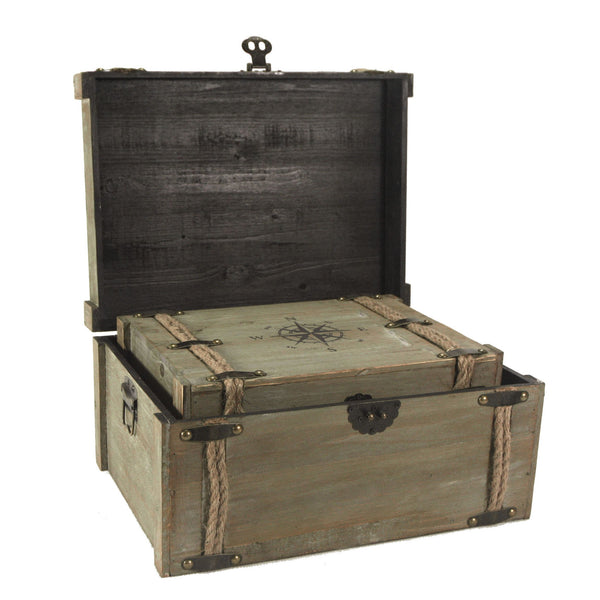 Vintage Nested Compass and Rope World Traveller Decorative Trunks - Set of 2 - Mellow Monkey  - 2