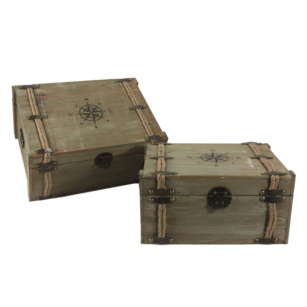 Vintage Nested Compass and Rope World Traveller Decorative Trunks - Set of 2 - Mellow Monkey  - 1