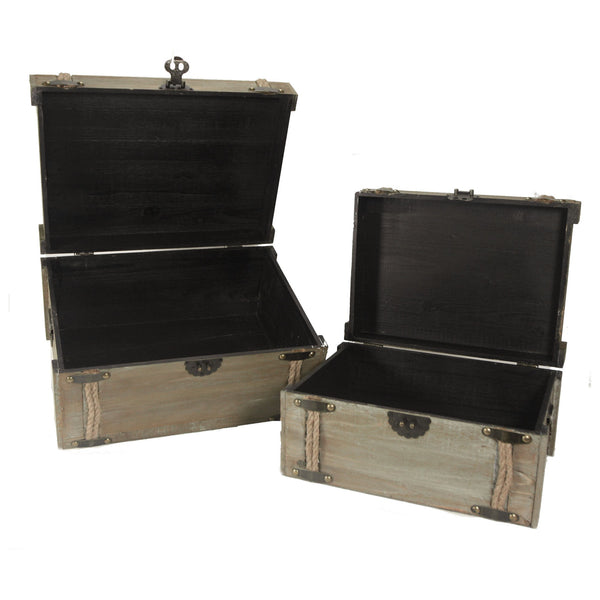 Vintage Nested Compass and Rope World Traveller Decorative Trunks - Set of 2 - Mellow Monkey  - 3