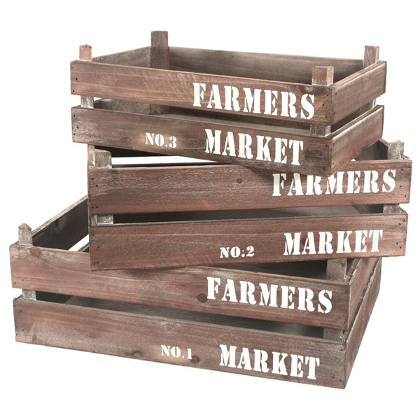 Farmers Market Wooden Crate Nested Set of 3 - Mellow Monkey  - 1
