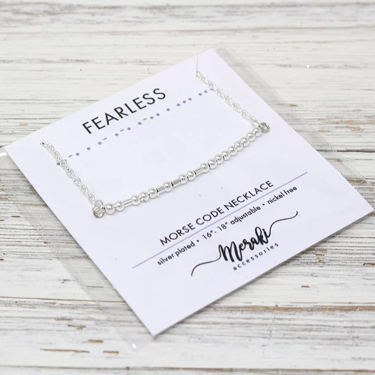Morse Code Silver Necklace - Fearless