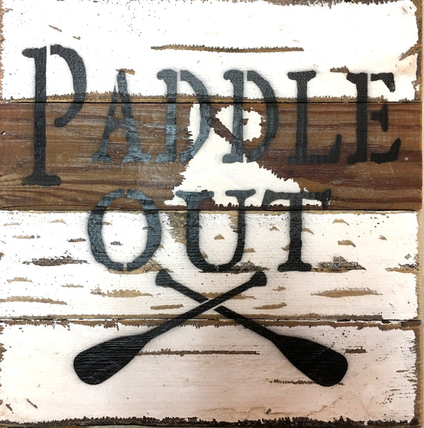 Paddle Out with Oars Vintage Rustic Wood Wall Decor 8-in
