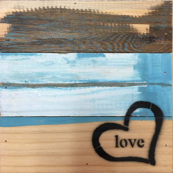 Simplicity Love with Heart - Blue Whisper Finish Wood Wall Decor 8-in