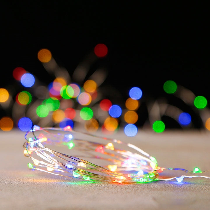 Micro String Light Garland Multi Colored 10-ft