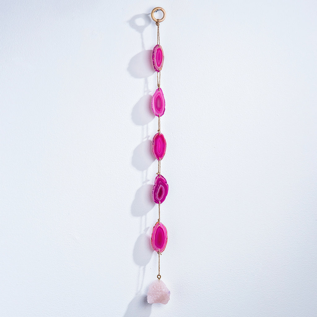 Pink Agate With Quartz Suncatcher Wall Hanging - 24-in