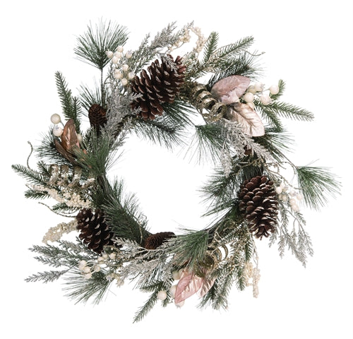 Holiday Faux Evergreen Wreath - 24-in