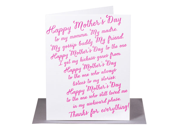Mother's Day Rant, My Momma, My Madre, My friend... - Mother's Day Card