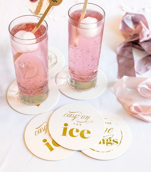 Easy On The Ice - Fancy Gold Foil Coasters - Set of 8