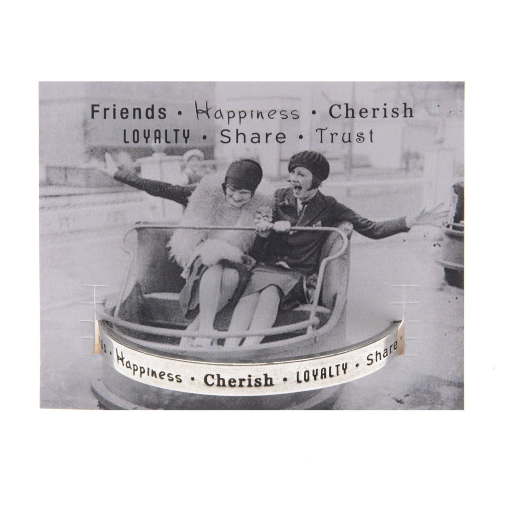 Friends Happiness Cherish Quotable Cuff Bracelet