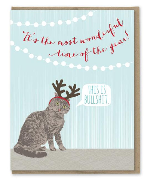 Boxed Set of 8 - This Is Bullshit - Cat Antlers - Holiday Christmas Greeting Cards