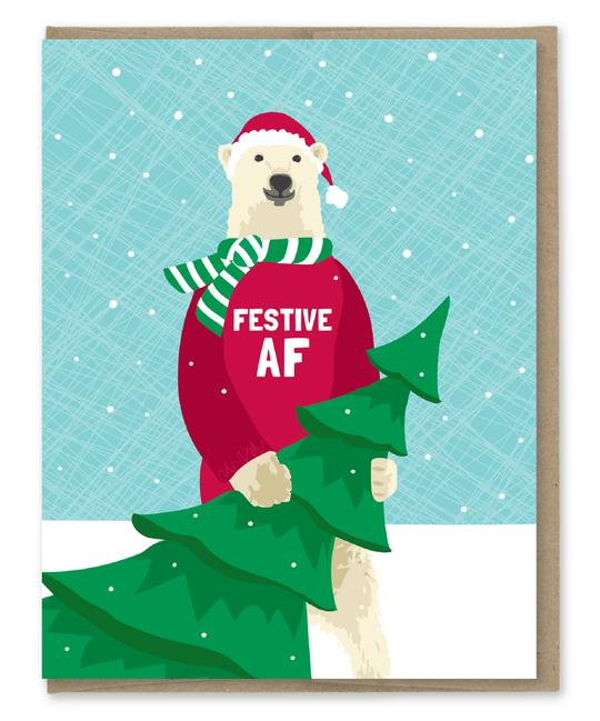 Festive AF - Holiday Christmas Greeting Card