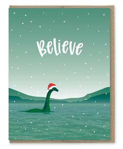 Christmas Greeting Images.Believe Nessie Holiday Christmas Greeting Card