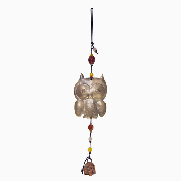 Owl - Metal Beaded Wind Chime With Bell - 19-in