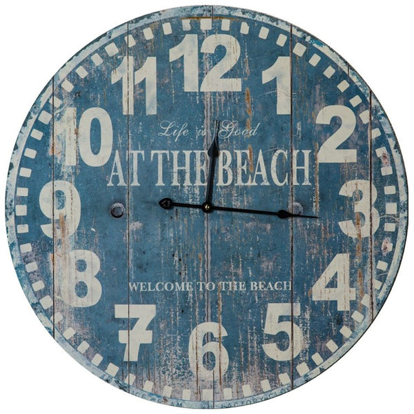 Life Is Good At The Beach / Welcome To The Beach - Large Weathered Wall Clock Blue 22-3/4-in - Mellow Monkey