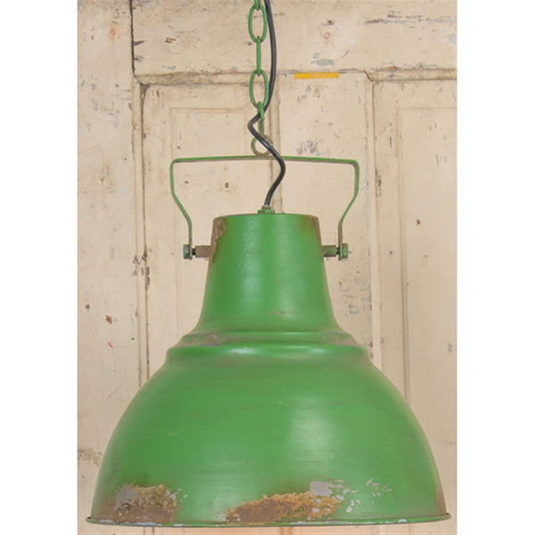 Rustic Distressed Antique Metal Green Pendant - 39-in