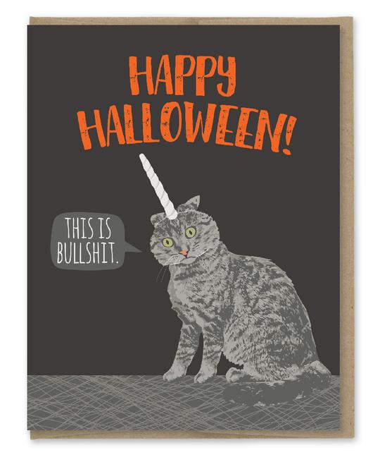 This is Bullshit (Cat in Unicorn Outfit) - Halloween Greeting Card