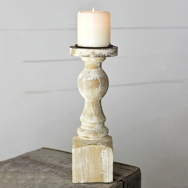 Antique White Candle Pillar Holder - 12-in