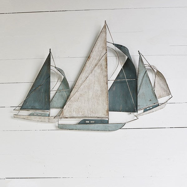 Three Sailboats - Metal Wall Mural 37-in