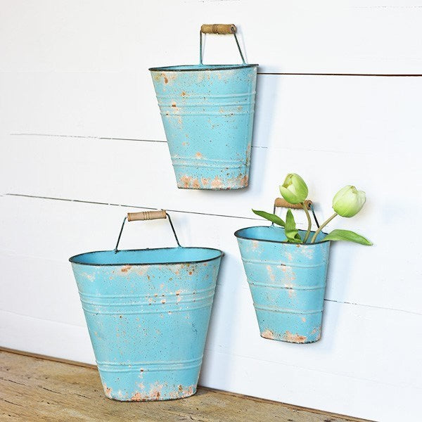 French Blue Wall Buckets