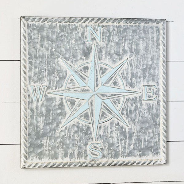 Pressed Tin Compass Rose Distressed Beach Style Wall Decor - 20-in