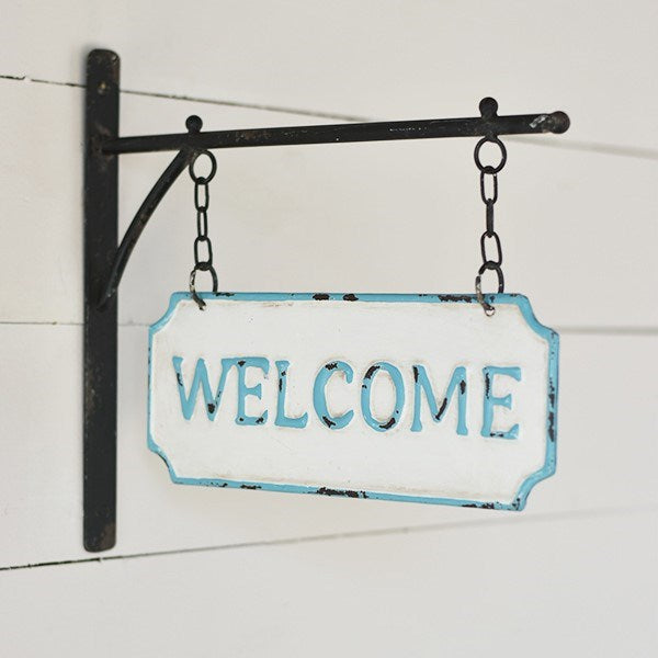 Vintage Welcome Beach Style Enamel Hanging Sign - 13-in