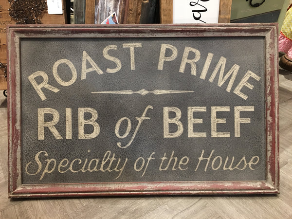 Vintage Framed Steak House Wall Sign - Roast Prime Rib of Beef - Specialty of the House 27-1/2-in