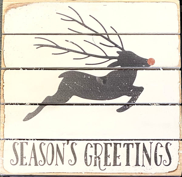 Season's Greetings with Rudolf - Weathered Plank Board Sign