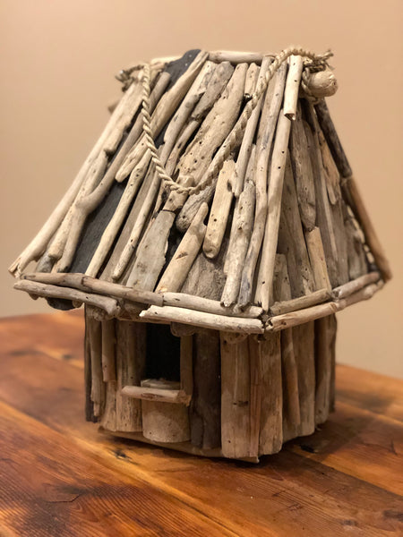 Large Square Driftwood Thatched Birdhouse