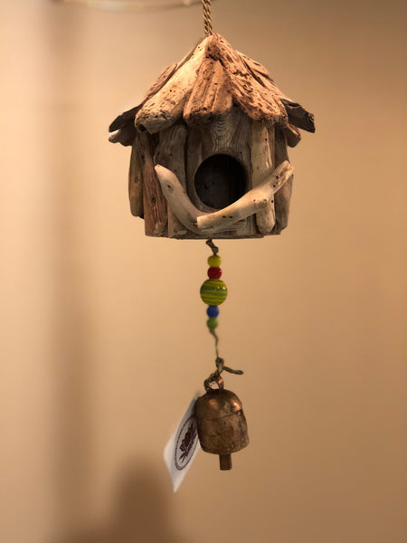 Mini Driftwood Birdhouse with Beads and Bell