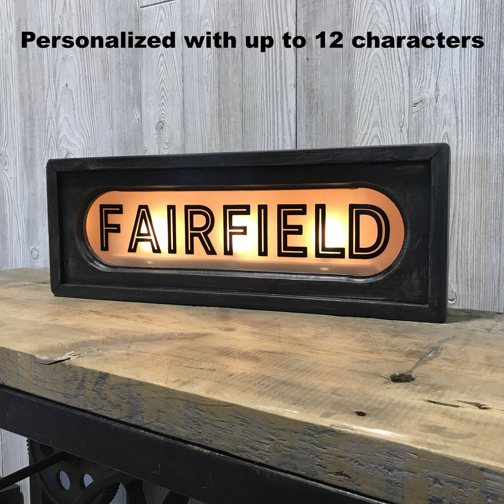 Personalized Custom Vintage Lighted Railroad Lighted Box Sign | 22-in