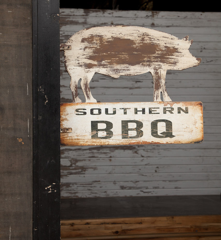 Vintage Southern BBQ with Hog Two SIded Wood SIgn