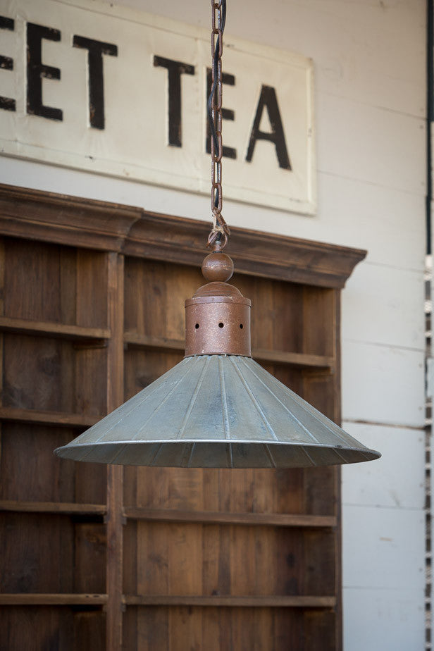 Vintage Metal Two Toned Warehouse Lamp with Ceiling Canopy