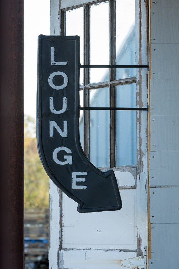 Retro Metal Embossed Speakeasy Lounge Arrow Two-Sided Sign - 36-in