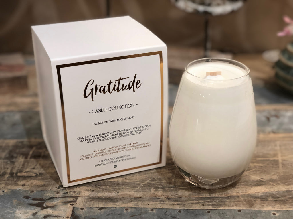 Gratitude Scented Soy Candle with Wooden Wick 16-oz.