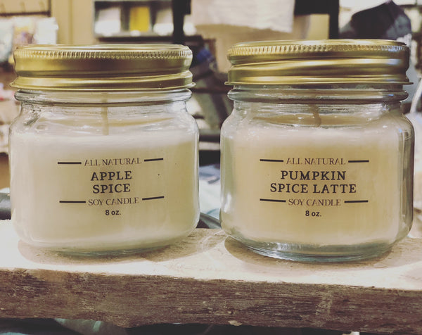 Hand Poured Soy Candles - Autumn Scents - with Essential Oils | 8-oz (Available 9/4/18)