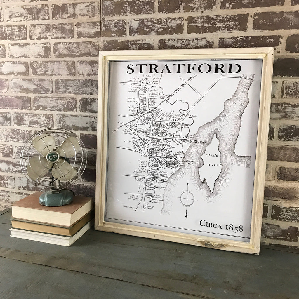 Stratford Vintage Map Reproduction Framed Shadowbox  25-1/4-in