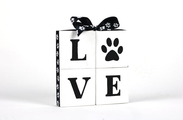 LOVE with Paw Print - Square Block Set
