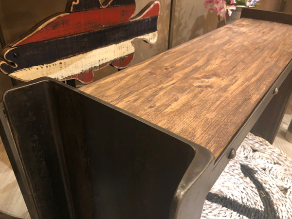 Industrial Steel and Wood Bench - 37-in