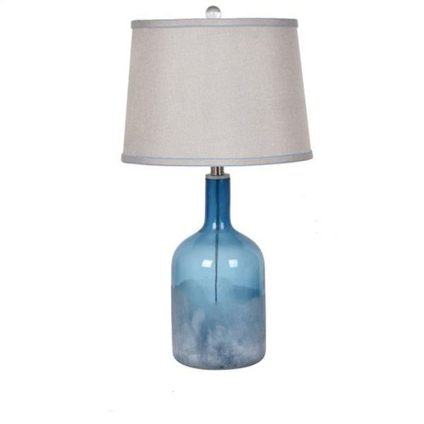 Blue Glass Table Lamp - 26-1/2-in