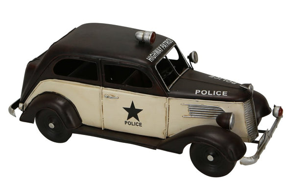 Vintage 1930s Metal Model Highway Patrol Police Car