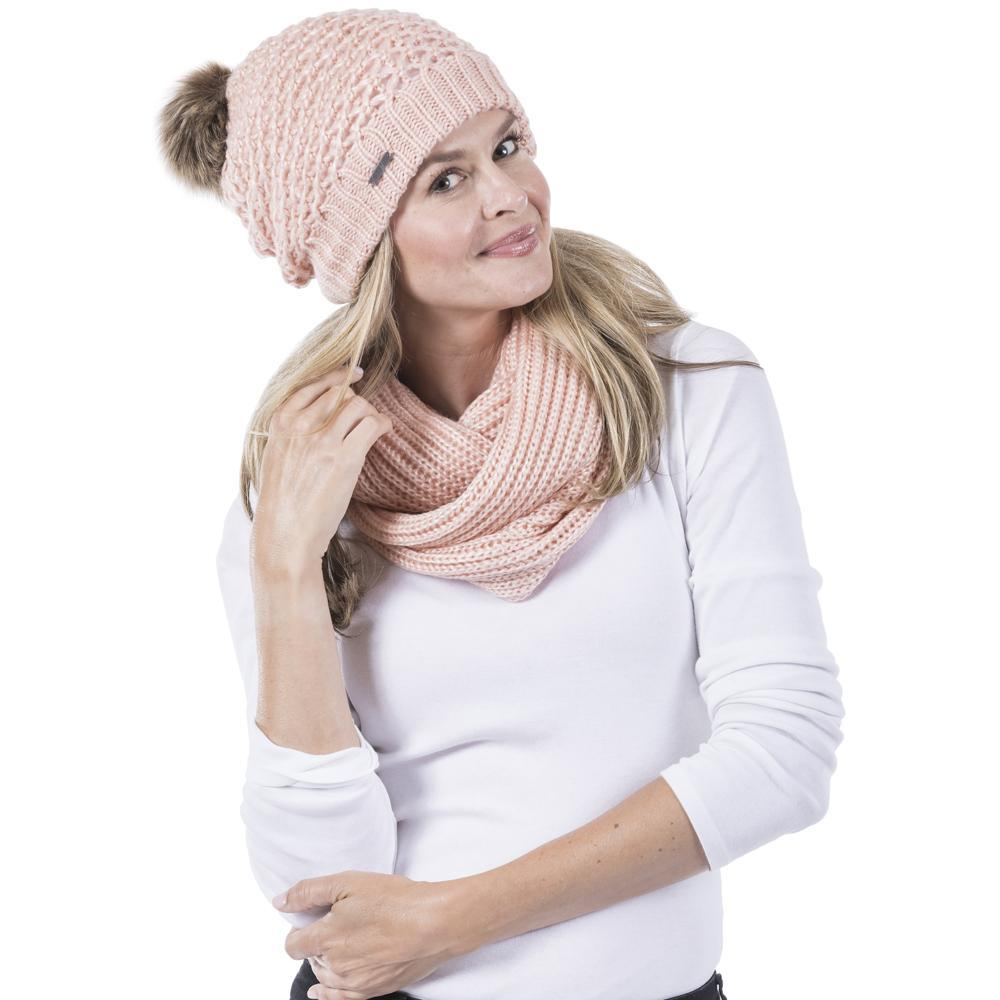 Knitted Beanie Hat with Pom Pom - Pink