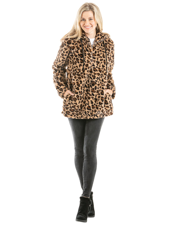 Leopard Faux Fur Pullover with Pockets and Hoodie for Women - Brown
