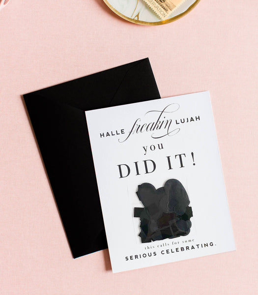 Halle Freakin Lujah You DID IT! - Black Confetti Celebration Greeting Card