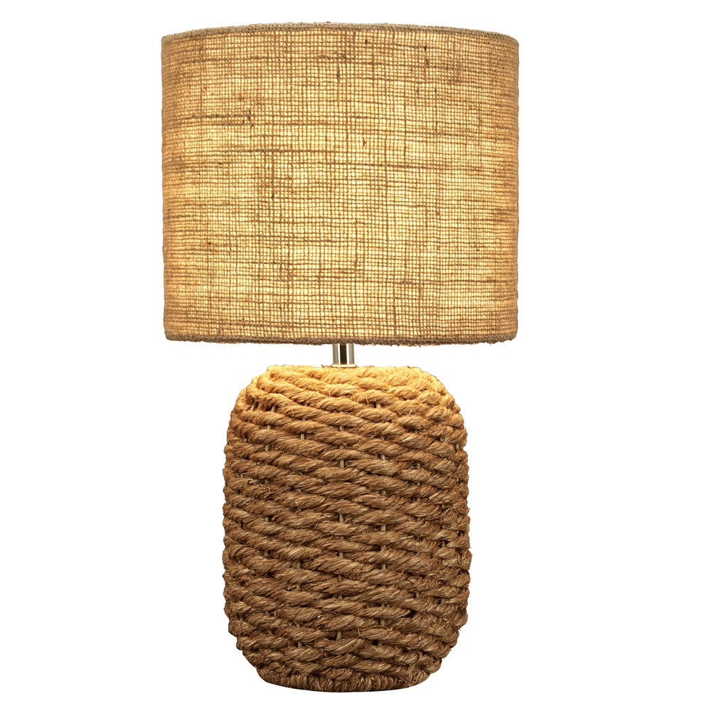 Cebu Nautical Rope Table Lamp With Natural Burlap Shade   18 In