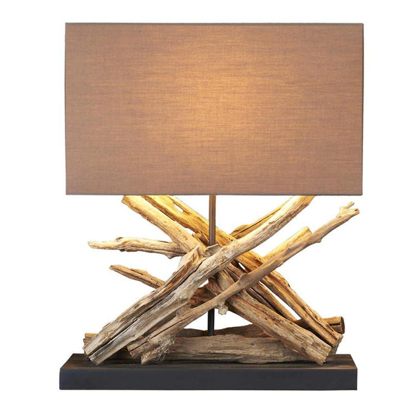 Teak Twig Purication Caotico Table Lamp with Cotton Shade 20-in